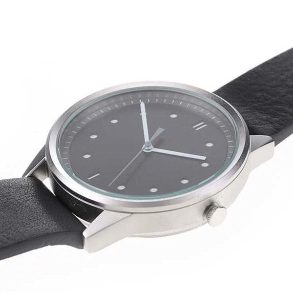 Pánské hodinky ve stříbrné barvě s černým koženým páskem HYPERGRAND3