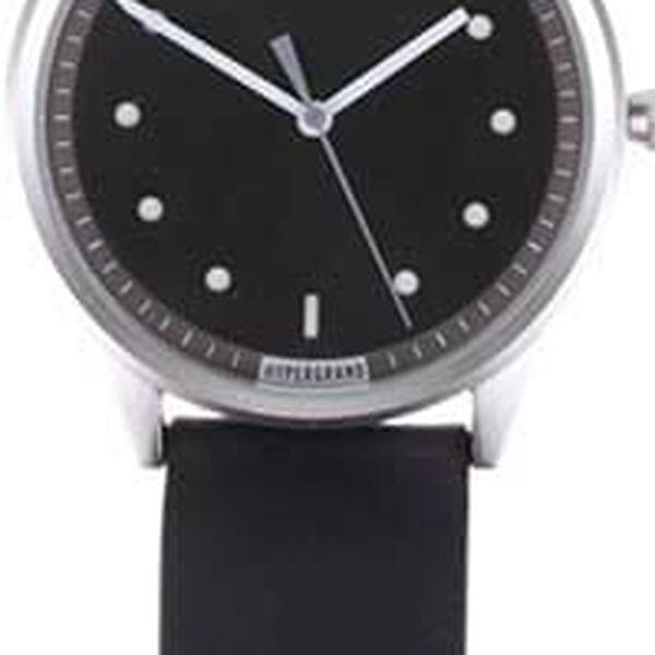 Pánské hodinky ve stříbrné barvě s černým koženým páskem HYPERGRAND4