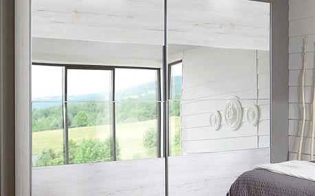 Vicenza - Šatní skříň, 2x posuvné dveře (dub bílý)