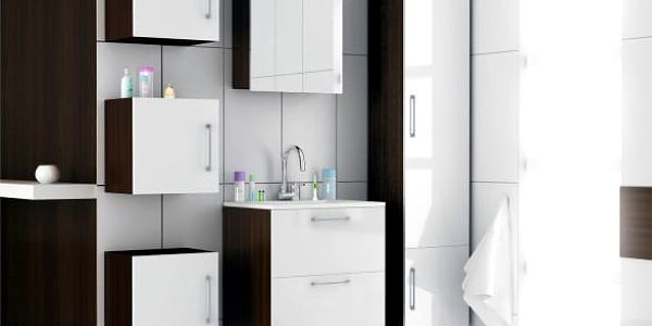 Torino - Koupelnová sestava s umyvadlem Yrsa (bílá,boky wenge)