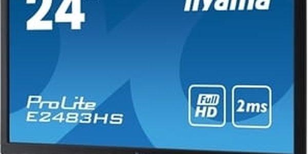 "24""LCD iiyama E2483HS-B1,FullHD,2ms,HDMI,repro"