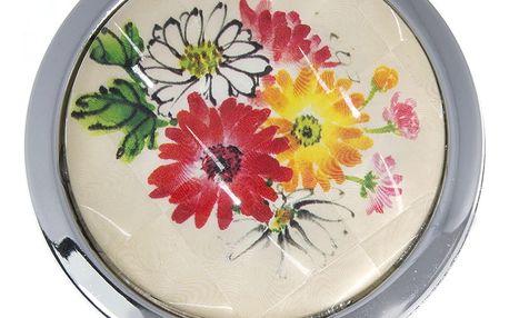 Kapesní kosmetické zrcátko Retro květiny kovové