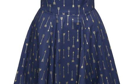 Modré retro šaty s motivem šípů ve zlaté barvě Lazy Eye Audrey