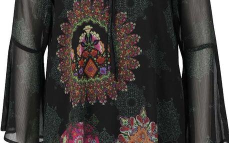 Černé šaty s průsvitnými zvonovými rukávy Desigual Jeanne