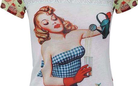 Bílé tričko s potiskem pin-up girl Culito from Spain