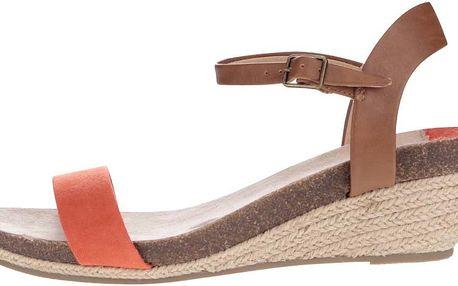 Oranžovo-hnědé sandály na klínku Dorothy Perkins