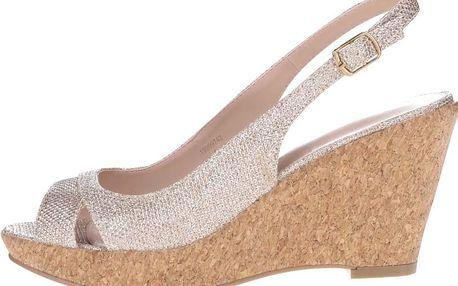 Metalické sandály ve zlaté barvě na korkovém klínku Dorothy Perkins