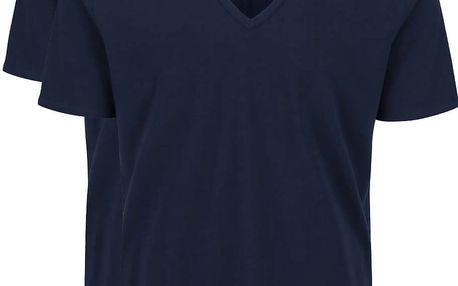 Sada dvou pánských tmavě modrých slim fit trik s véčkovým výstřihem Calvin Klein