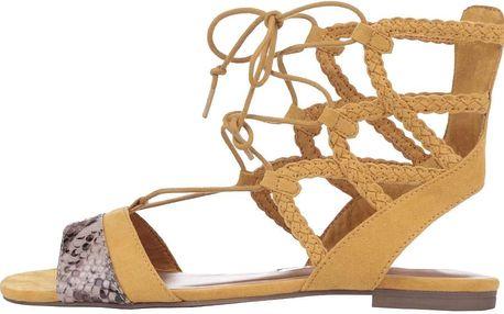 Žluté vázací sandálky Tamaris