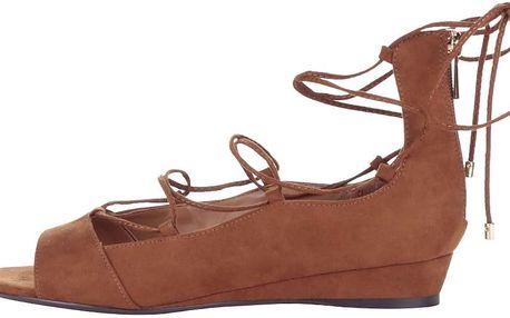 Hnědé šněrovací sandály na klínku ALDO Arla