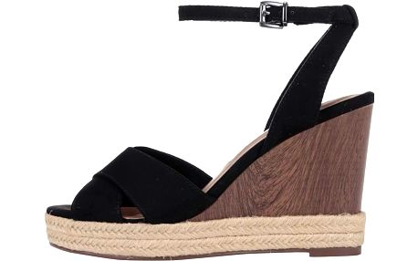 Černé sandály na klínku Tamaris