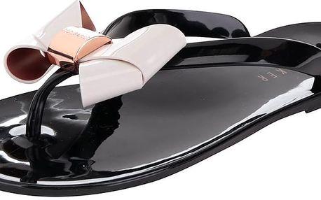 Černé plastové žabky s krémovou mašlí Ted Baker Ettiea