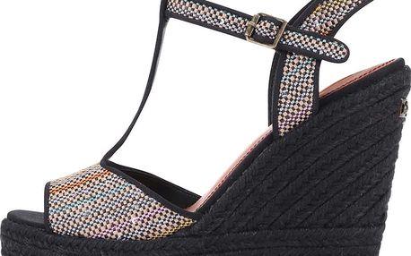 Černé dámské sandály s flitry na platformě a klínku Pepe Jeans