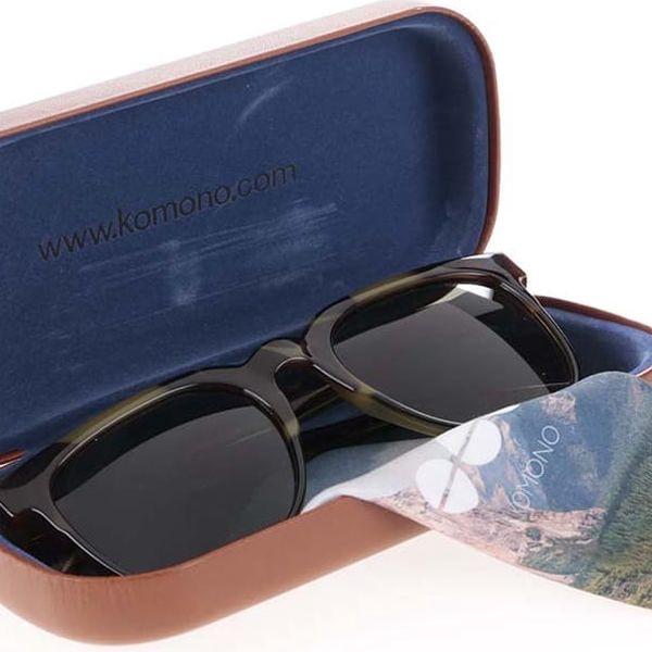 Hnědo-zelené unisex sluneční brýle se vzorem Komono Riviera2
