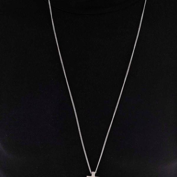 Pánský řetízek s křížem ve stříbrné barvě Lucleon Cross2