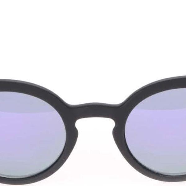 Černé unisex sluneční brýle s fialovým sklem Komono Lulu3