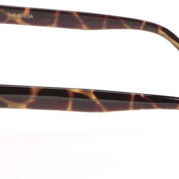 Hnědo-zelené unisex sluneční brýle se vzorem Komono Riviera4
