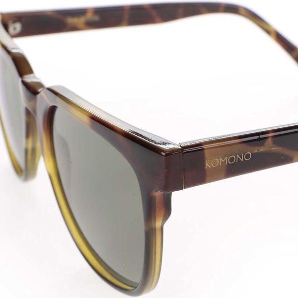 Hnědo-zelené unisex sluneční brýle se vzorem Komono Riviera5