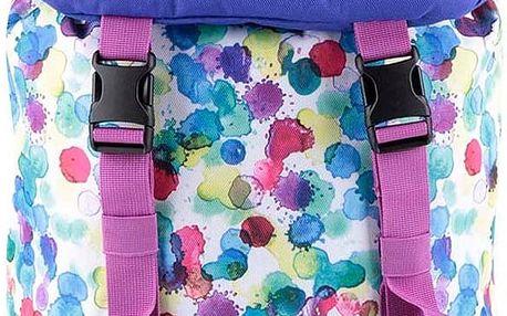 Bílo-fialový dětský batoh s barevnými puntíky Burton Tinder 16 l
