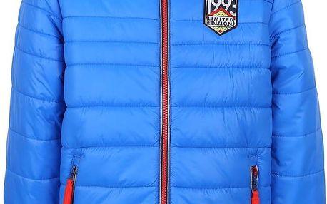 Modrá klučičí prošívaná bunda s oranžovým zipem 5.10.15.
