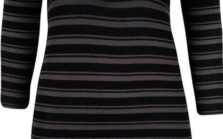 Tmavě šedé pruhované úpletové šaty se šněrováním v dekoltu Vero Moda Seduno