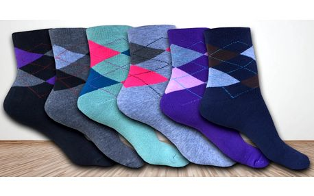 6 párů dámských barevných thermo ponožek
