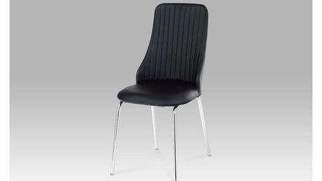 Jídelní židle, chrom/koženka černá, AC-1313 BK