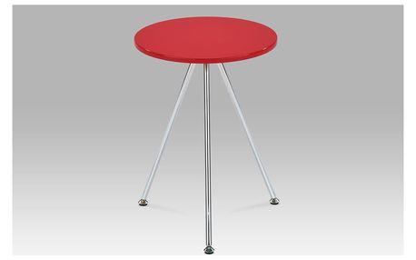 Přístavný stolek, vysoký lesk červený / chrom, 83467-01 RED
