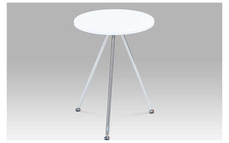 Přístavný stolek, vysoký lesk bílý / chrom, 83467-01 WT