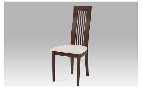 Jídelní židle BC-2411 WAL, masiv buk, moření ořech, potah krémový