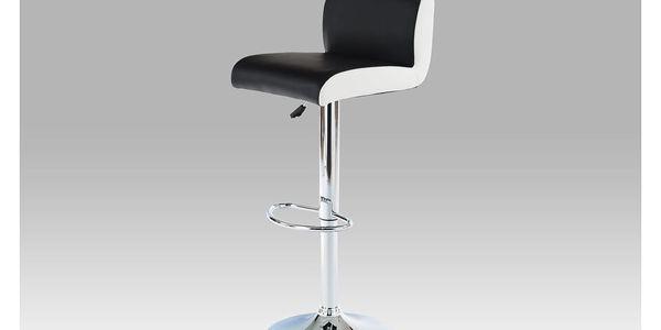 Barová židle AUB-355 BK, chrom/koženka černá s bílými boky