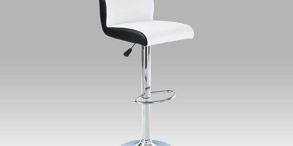 Barová židle AUB-355 WT, chrom/koženka bílá