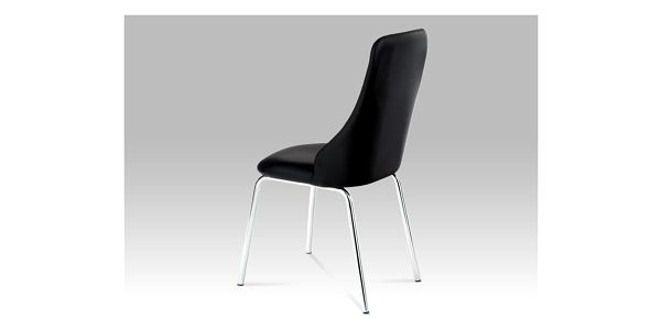Jídelní židle, chrom/koženka černá, AC-1313 BK2
