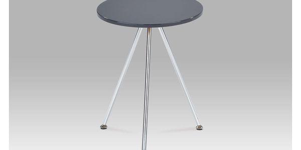 Přístavný stolek, vysoký lesk šedý / chrom, 83467-01 GREY
