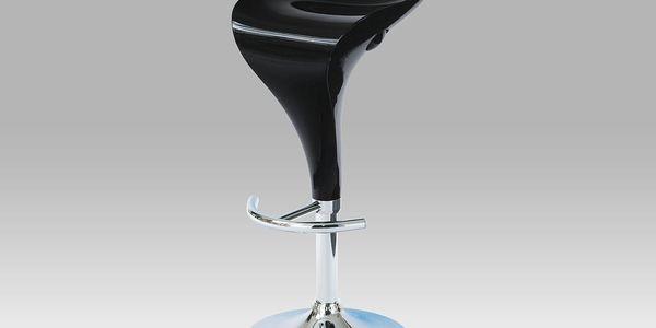 Barová židle AUB-310B BK, chrom/černý plast