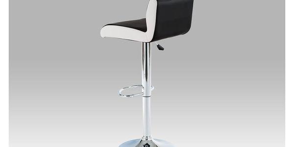 Barová židle AUB-355 BK, chrom/koženka černá s bílými boky2