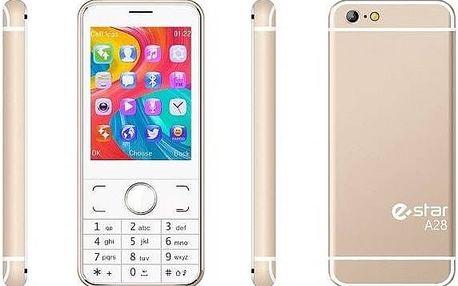 Mobilní telefon eStar A28 Dual SIM zlatý Software F-Secure SAFE 6 měsíců pro 3 zařízení (zdarma)