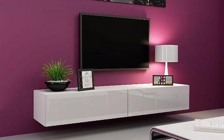 Televizní stolek VIGO, bílá/bílý lesk