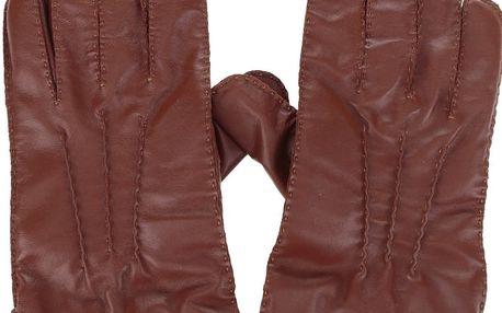 Hnědé kožené rukavice Dice