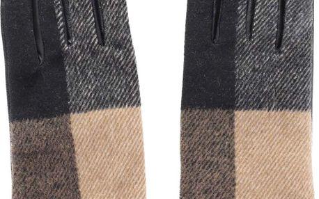 Béžovo-černé kožené rukavice Pieces Pecheck