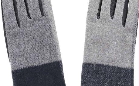 Šedo-černé kožené rukavice Pieces Pecheck