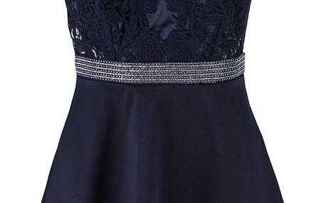 Tmavě modré krátké šaty s ozdobným páskem Lipsy