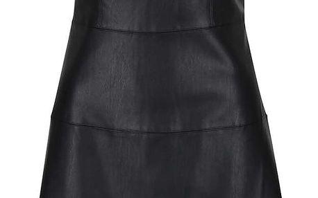 Černé koženkové šaty s krajkovými rameny VERO MODA Frida