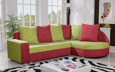 Rohová sedačka LIZBONA 5 pravá, zelená/červená