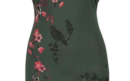 Tmavě zelené šaty s květinovým potiskem a krajkou Desigual Lauras