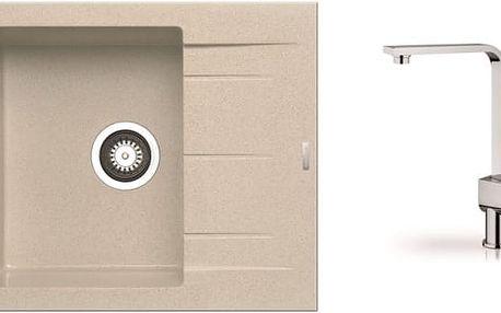 Alazia - Granitový dřez 59x50 (béžová) + baterie Espressivo