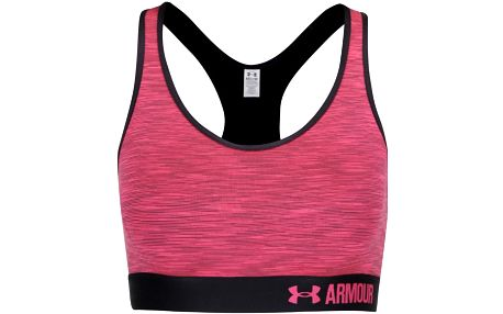 Černo-růžová žíhaná sportovní podprsenka Under Armour Mid Space Dye