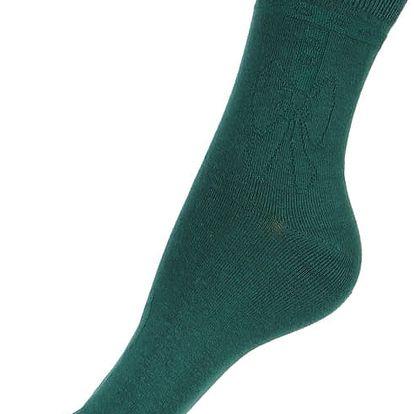 Jednobarevné ponožky s obrysem mašle zelená