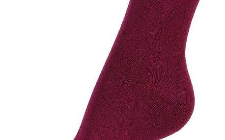 Jednobarevné ponožky s obrysem mašle vínová