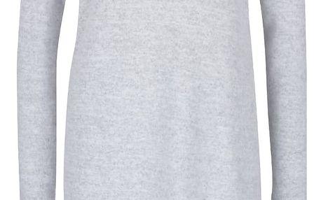 Světle šedé úpletové šaty s dlouhým rukávem a rozparky VERO MODA Fallon